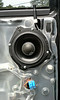 """Aftermarket speaker and   speaker adapter ring  from  <a href=""""http://www.car-speaker-adapters.com/items.php?id=SAK109""""> Car-Speaker-Adapters.com</a>   installed on door"""
