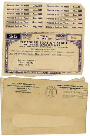 Vincent C. Taylor Dodge Watercar Tax Stamps
