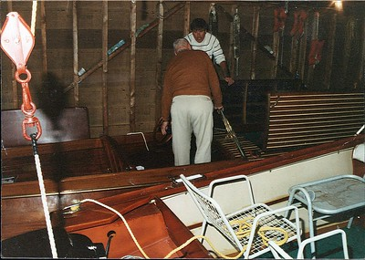 Spahn and Crowley during initial inspection on Cuba Lake. Boathouse