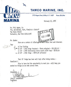 JAFCO MARINE - Jack Fraunheim to Philip F. Spahn Jr. Sale of 1925 Dodge Watercar