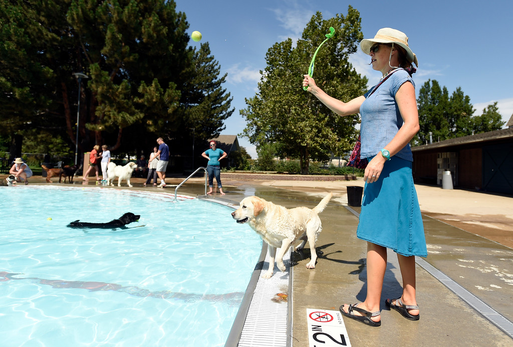 . Lyndel Smith throws the ball to her dog Hazel during Dog Dayz at Scott Carpenter Pool on Monday in Boulder. For more photos and video of Dog Dayz go to dailycamera.com Jeremy Papasso/ Staff Photographer 9/11/2017