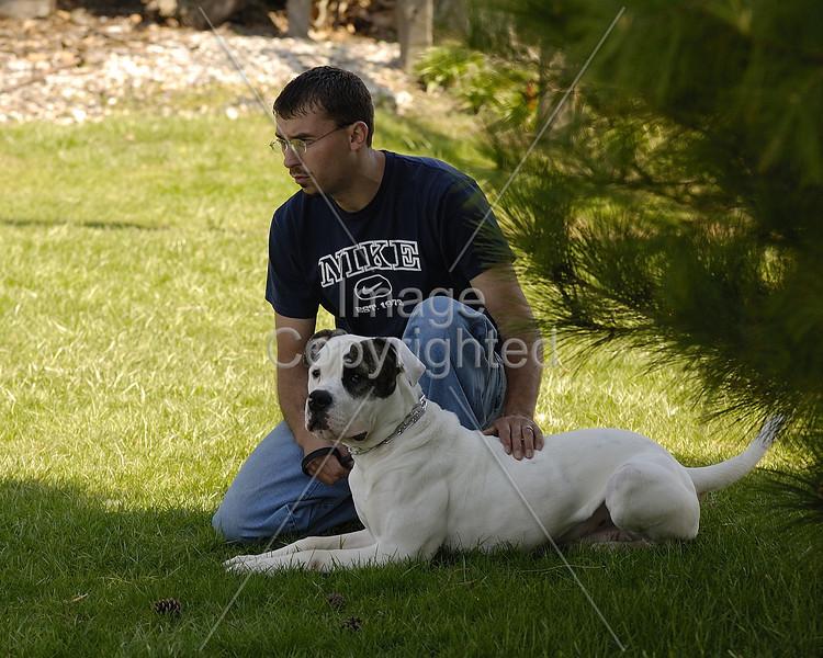 John and Bruiser in the summer shade at Randy Rhodes.