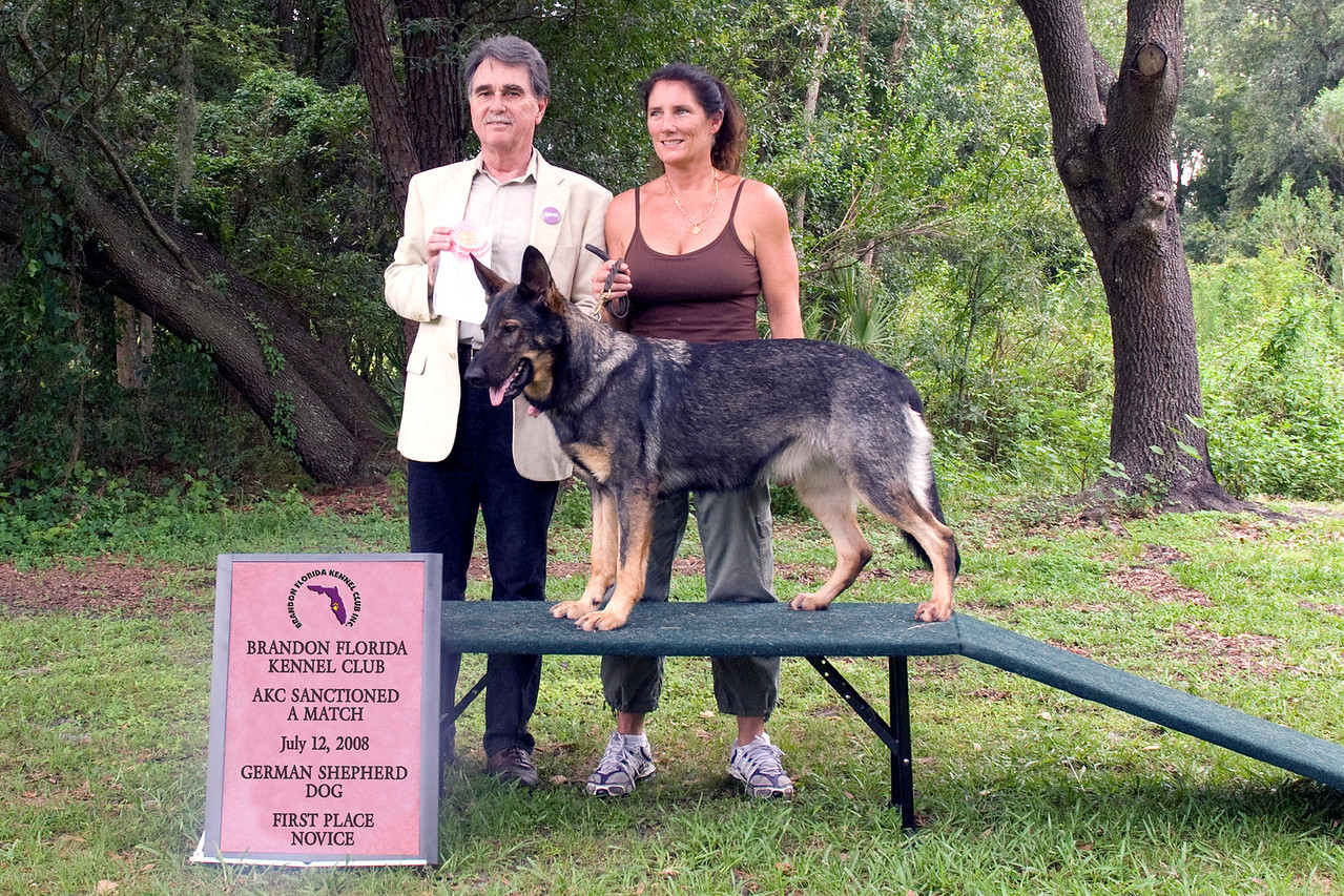 Rina Vom Hochzillertal, a German Shepherd Dog, won first place in the Novice class.  Rina is shown here with her owner Michelle Delaney and Judge Sam Steding.