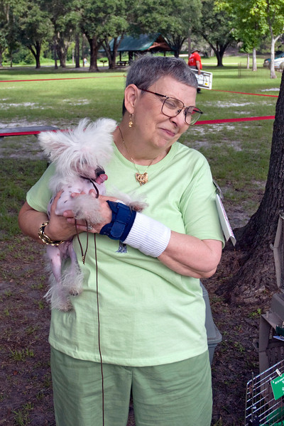 Toby, a Chinese Crested, shared a laugh with his owner, Arlene Steinmetz
