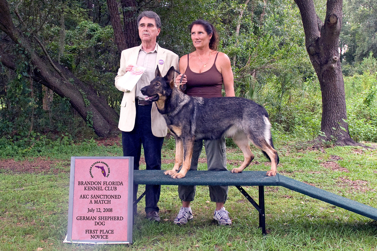 Rina Vom Hochzillertal, a German Shepherd Dog, won first place in the Novice class.  Rina is shown here with her owner Michelle Delaney.