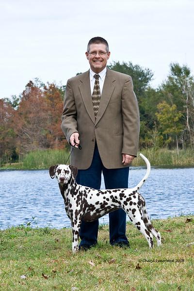 Daniel Brumfield and his Dalmatian, Ch Chermar's Princess Perdita
