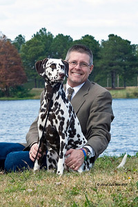 Daniel Brumfield and his Dalmatian, Ch Chermar's Princess Perdita