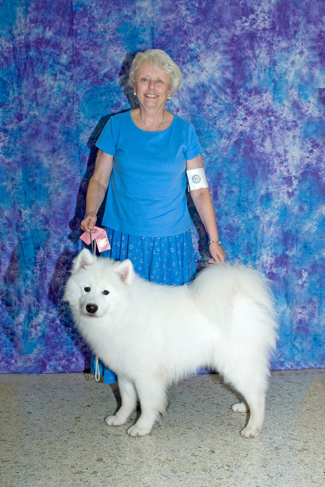 Peggy Newton and Lou took first place, adult male, at the SFCF match. Lou Blue is the anglicized version of lublu which is Russian for love.