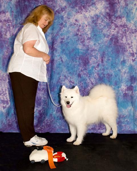 Laura Segers' girl, Breeze, won Best of Breed Veteran.  Breeze's registered name is CH White Gold's Bluestorm Breeze.