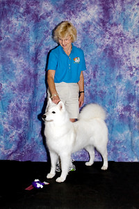 Janice McGlashon poses with CH Cold Smoke's Sandpiper Beach HT.  Piper was shown in the Veteran's class, 7 - 10 years old.
