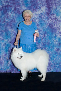 Peggy Newton and Lou Blue took first place, adult male, at the SFCF match.  His registered name is Majestic's Argenteau Meuse.