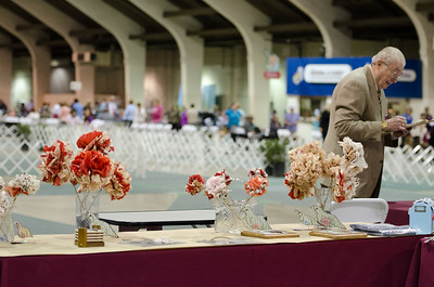 San Diego Brittany Club Trophy Table Paper Quail by Deborah Frane Paw Print Tissue Flowers by Deborah's mom, Jean Page
