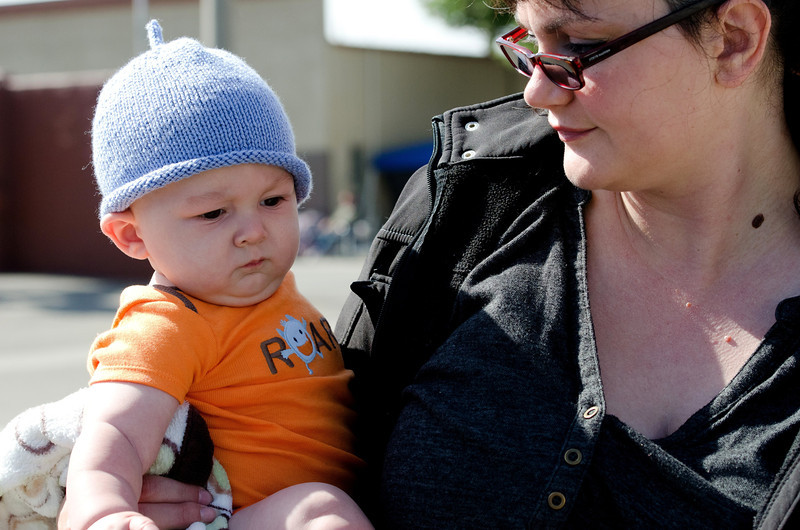 Mike Jr looks so cute in his designer hat by Nancy Reardon.