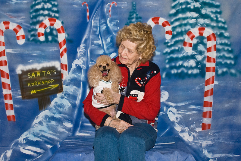 Pumpkin, an apricot Toy Poodle, poses with his best friend, Margaret.