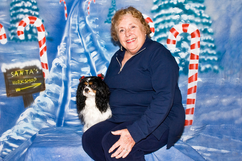 Joi, a King Charles Cavalier, and Nita Zimmer pose for their Christmas photos.