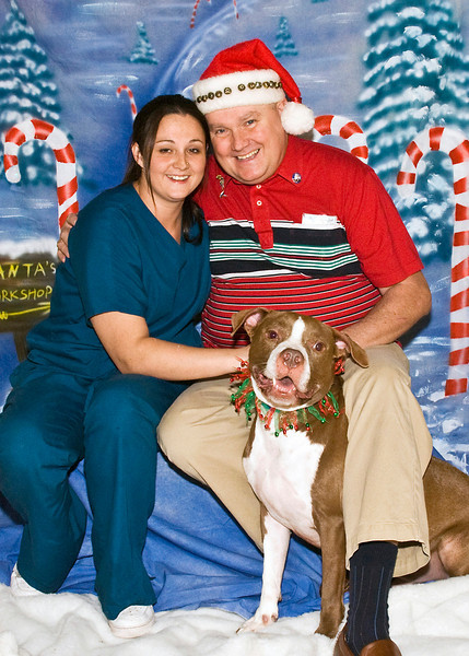 Jaclynn, her father Tim Rooney, and Moachaa, a Pit Bull, enjoy a Christmas moment.  (Picture sized for 5x7)