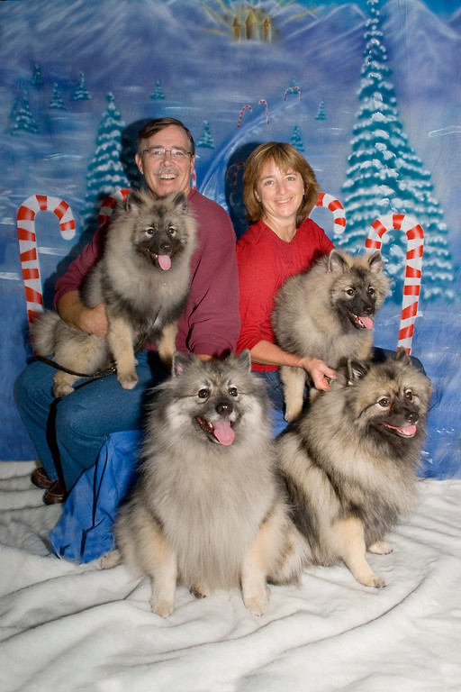 Wendy & Dave Kurtz pose with their Keeshonden, Kira, Sadie, Ziva & Tucker.