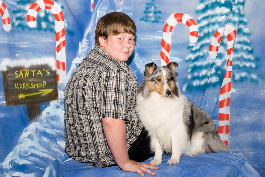 Stella, a Shetland Sheepdog, and JD.  Stella is owned by Judy Ault