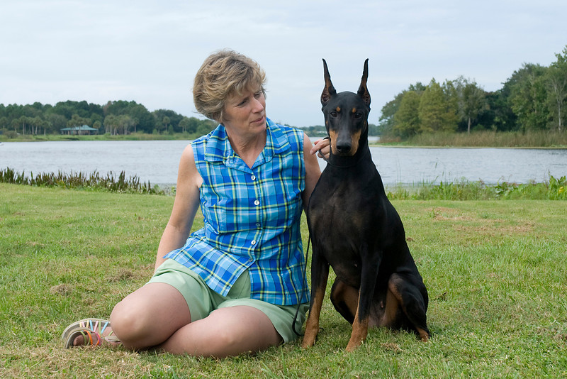Anita Houchins and her Doberman Pinscher, Tula