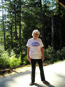 Mariel, loving the back deck looking out over the redwood forests and her own personal woodpeckers. (Sorry no photos but I did see them.)