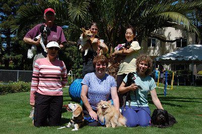 Art and Maybe, Debbie and Porsche, Yukari and Belle,  Carol and Bernie, Mardi and Tater, Arlene with Sparkle and Scully