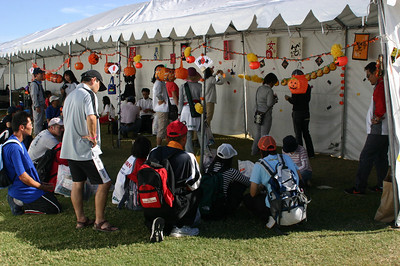 The Japanese team spent hours decorating their vast crating area.
