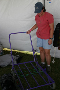 Kathy points out what a cool cart this is (thanks, Arlene, for loaning it to the cause).
