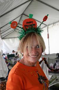 Jeanne Nixon displays the full Halloween get-up.