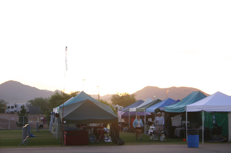 The free-tenting crating area at sunrise