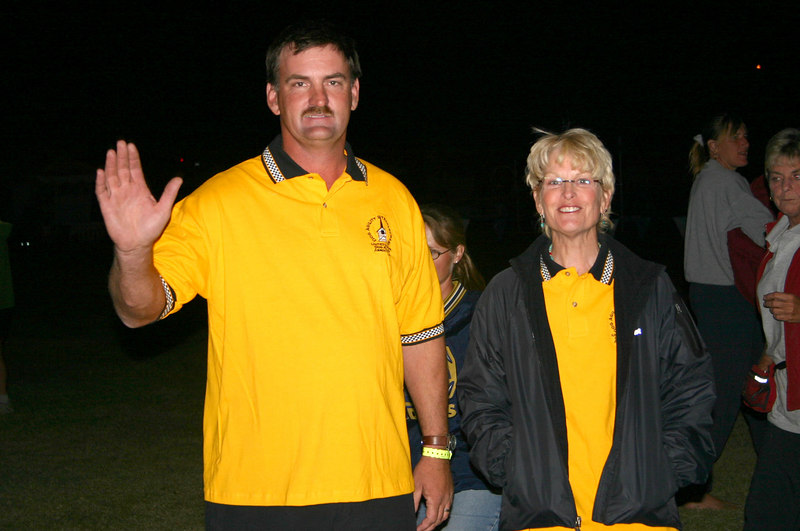 Jim B and Susan C in their steeplechase polos