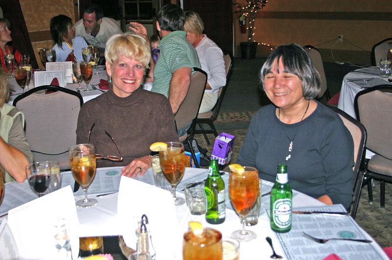 At the awards banquet:  Susan C and Linda G
