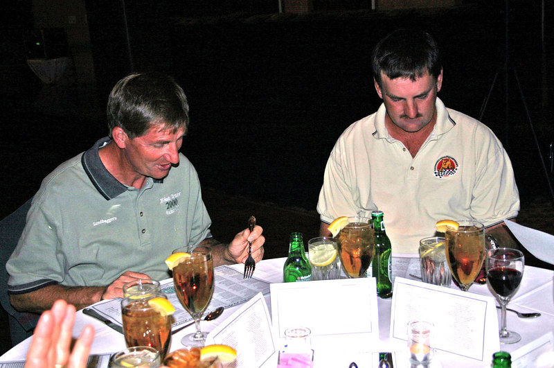 At the awards banquet:  Scott and Jim read the awards lists