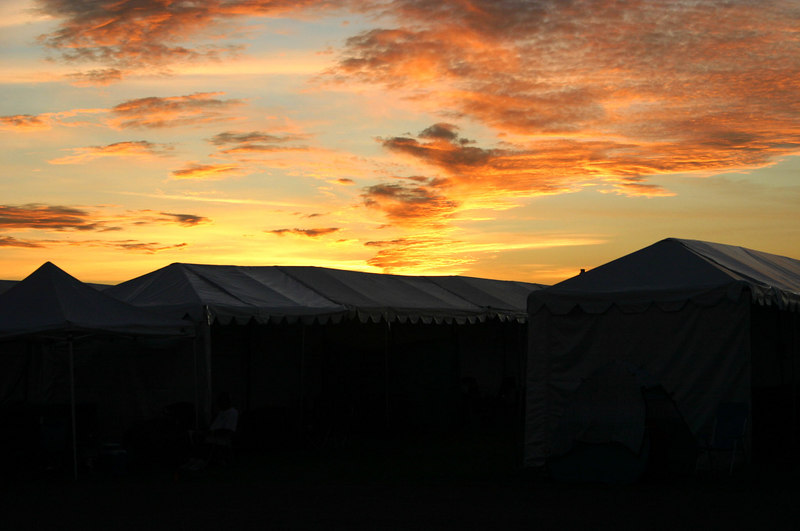 Sunset over the main crating tents.
