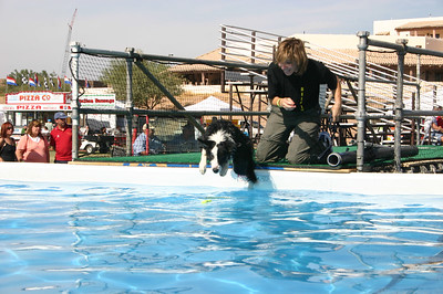 ...Sarah J with Trooper finally taking the cue and leaping into the water. Whew!
