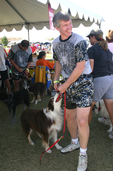 Bill G and Bert, our Canadian members, show off their sparkly Barking Spiders team outfit after their team finishes running in the finals