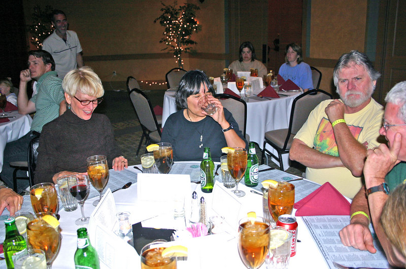 At the awards banquet:  Susan C, and Linda & Robert G