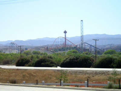 Zooming through Valencia past Six Flags Magic Mountain. I have zoomed similarly many times over the last 40 years but have never actually been to Magic Mountain.