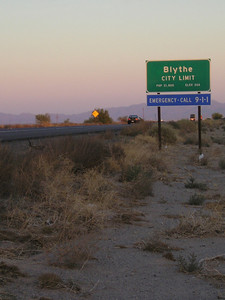 We are right at the Blythe city limits. 60 miles earlyier or later, we'd have been literally nowhere and an hour away from the nearest tow truck. How lucky is that?