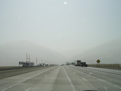 Ah, yes, the noble Tejon range of mountains rising dramatically from the valley as we approach on I-5! Or maybe haze.