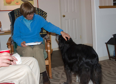 Jean greets the good old dog Maggie.