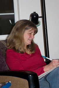 Kathy Bennett faithfully takes notes.