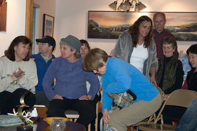 Michelle, Dustin, Dee, Gwen J(in back), Joan, Nancy D, Stan, Roxie, Gwen T waiting for the meeting to get rolling.