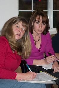 Secretary Kathy Bennett and VP Barbara Snarr undoubtedly conspiring.