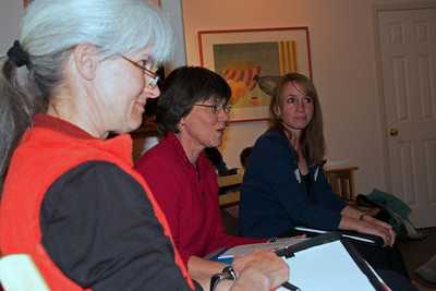 Karey (new secretary), Kathy W. (new President), Barbara (continuing VP) get the meeting going.