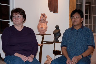 Mardee and Raymond wait for something to laugh about. (AKA: Three heads are better than one.)