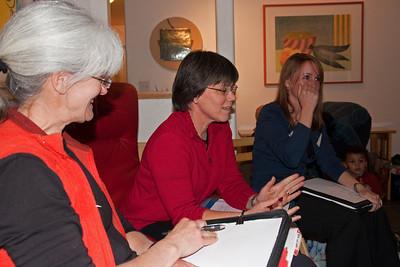 Karey (new secretary), Kathy W. (new President), Barbara (continuing VP) continue the meeting going.