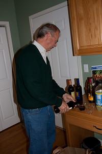 Dave B checks out the liquid nourishments.