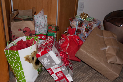 The growing stack of gifts.