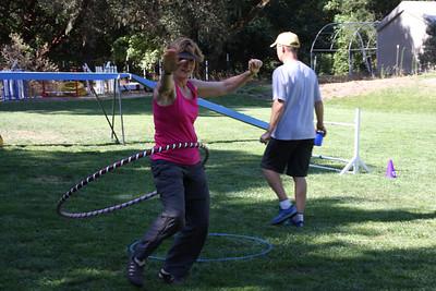 Karen practicing hula.