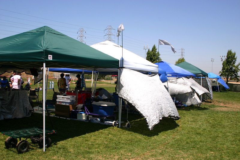 Canopies ringside trying to keep off the 102 F degree heat. Fortunately there was a breeze in Sunnyvale at Twin Creeks.